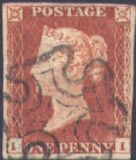 1841 1d Red SG8 Plate 20 'II'